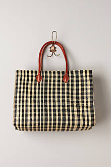 Gingham Straw Tote - anthropologie.com