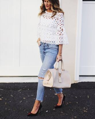 bag tumblr eyelet detail eyelet top white top white lace top lace top three-quarter sleeves denim jeans blue jeans ripped jeans white bag ysl ysl bag pumps pointed toe pumps high heel pumps red heels velvet velvet shoes