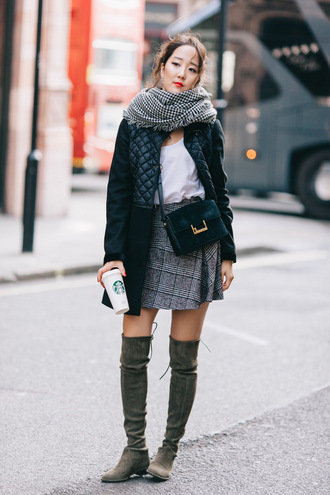 park and cube blogger coat skirt bag scarf thigh high boots plaid skirt quilted winter coat white top top shoes