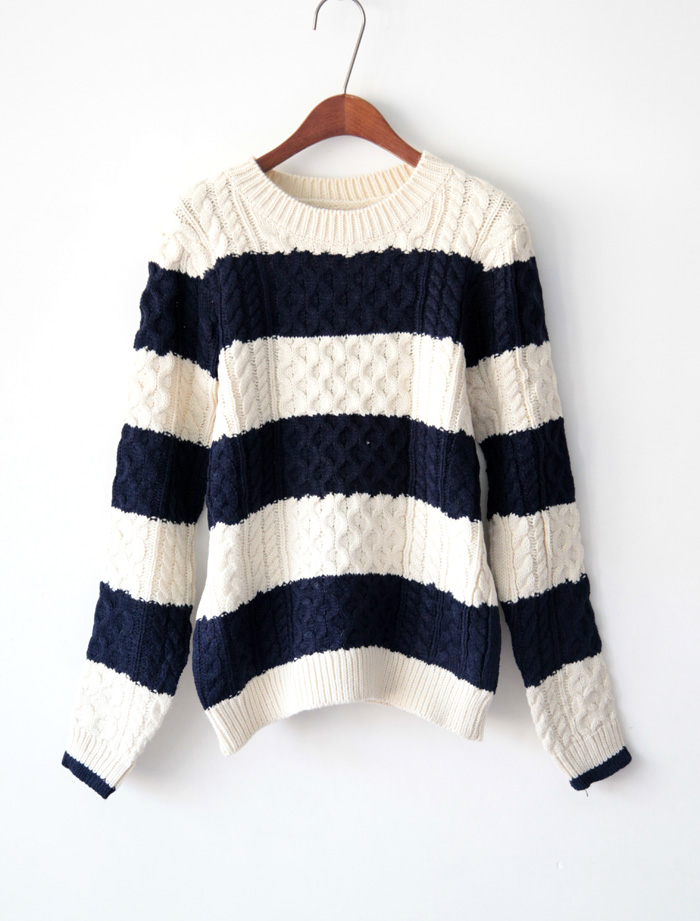 [US$35.99] - Vintage College Navy Stripes Knitting Thick Cami Slim Loose Sweater : FoxFriday.com