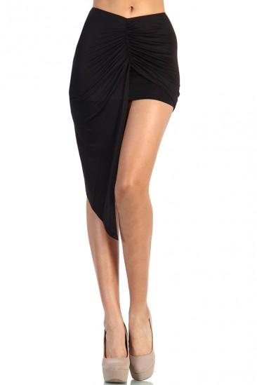 LoveMelrose.com From Harry & Molly   Asymmetrical Skirt - Black