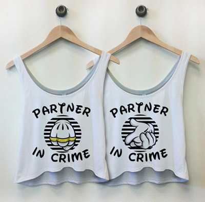 Partner In Crime : Custom Bella Flowy Boxy Lightweight Crop Top Tank Top - Customized Girl