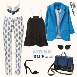jacket clubwear stylish jacket handbag party outfits women going out lapel jacket patterned pants bicolor satchel bag blue jacket pants bag