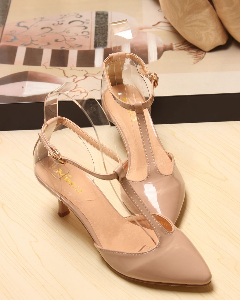 Japanned leather vintage baby pink pointed toe strap t thin heels yellowish brown high heeled shoes low single shoes women's on Aliexpress.com
