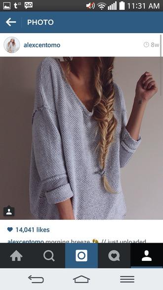 sweater grey sweater oversized sweater loose fit sweater comfy alex centomo
