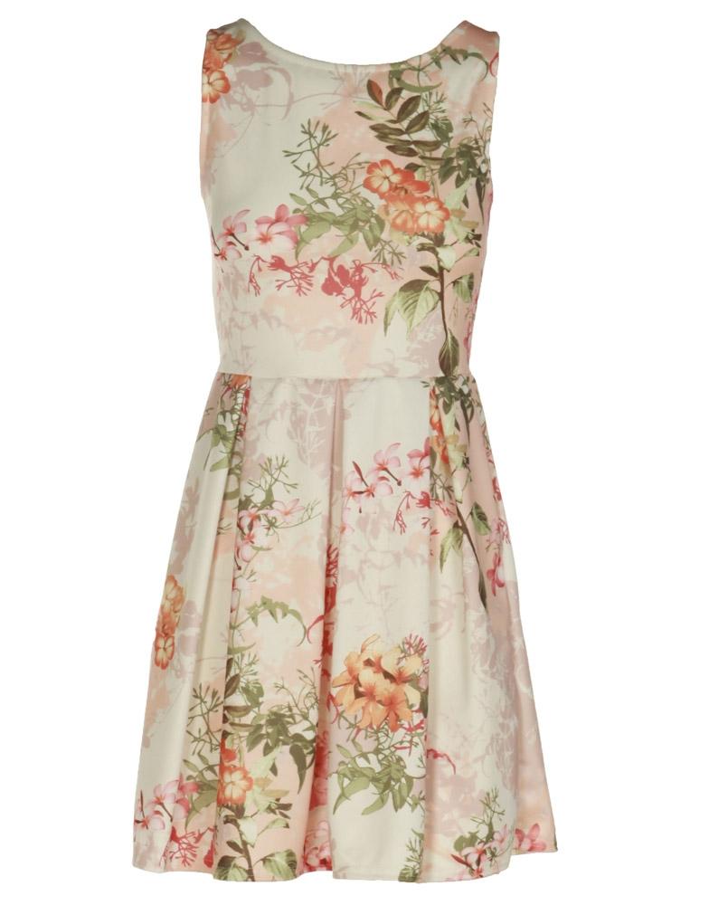 Cream Floral Skater Dress
