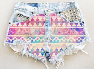 shorts purple high waisted shorts tribal pattern hipster spikes cut offs neon galaxy print acid wash pink light blue summer hot girl cute couleurs