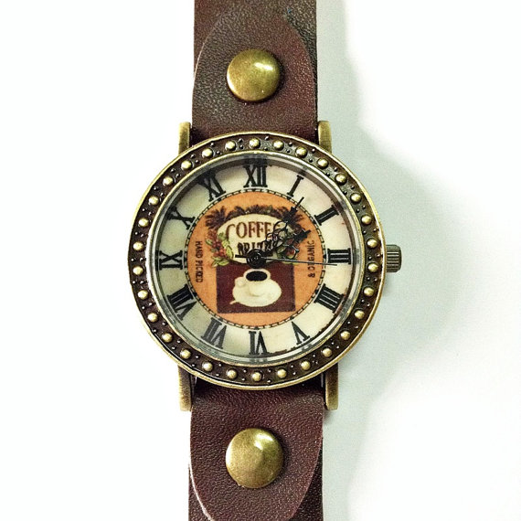 Coffee Lover Watch Retro Leather Watch Mens Watch by FreeForme