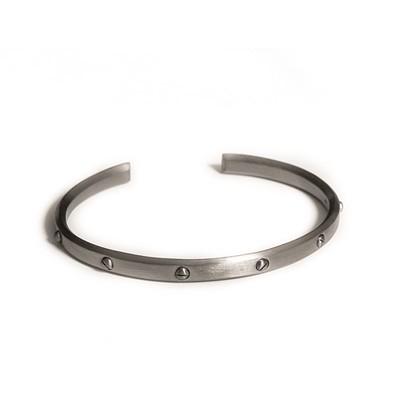 Skrue-armbånd sort rhodineret - Rhodineret Sølv - Armbånd