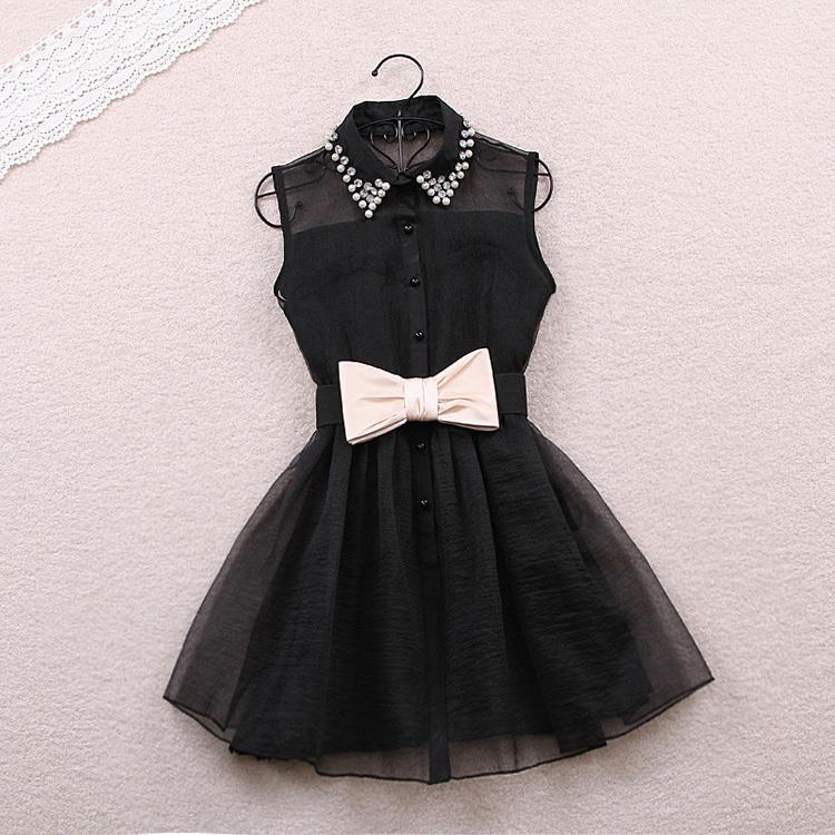 L 080201 bb Pearl Rhinestone small lapel gauze dress / charm