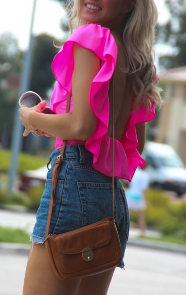 shirt clothes shorts bag sunglasses blouse pink summer outfits top neon ripped ripped shorts denim backless bright pink ruffle backless pink  top curves hot pink ruffles brown leather
