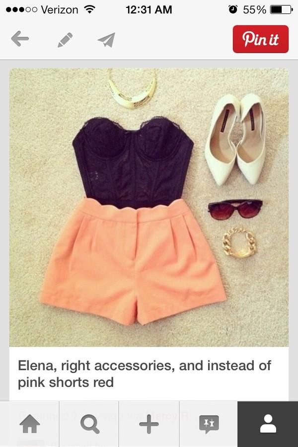 shorts shirt shoes jewels