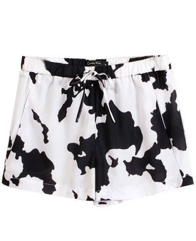 White Black Drawstring Waist Dairy Cow Print Shorts