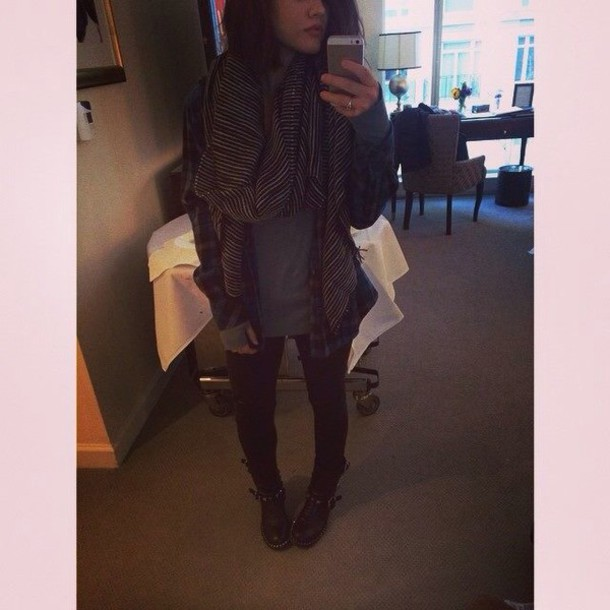 scarf lucy hale stripes blouse