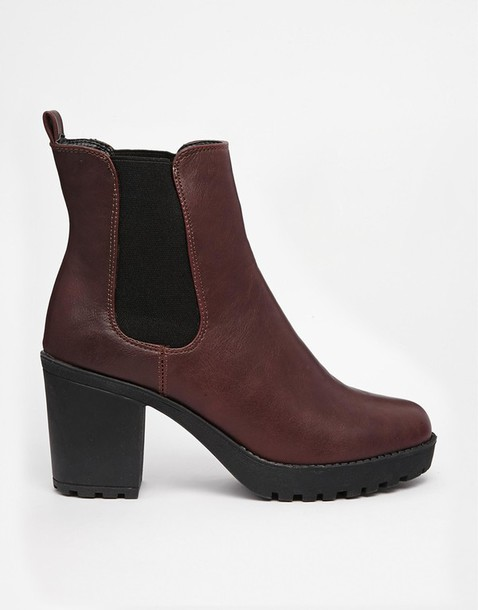 shoes asos truffle collection burgundy ankle boots heeled