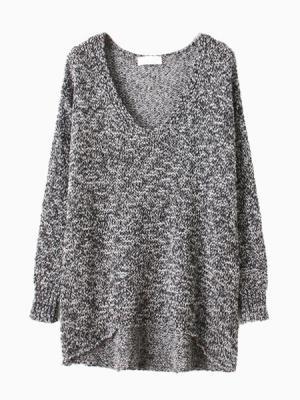 Gray Metallic Yarn Sweater With Dipped Hem | Choies