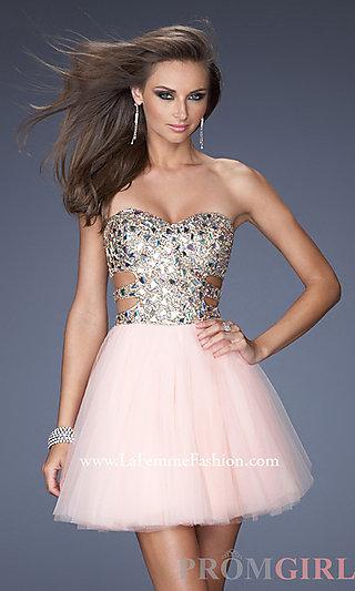Strapless Sequin Short Dress, La Femme Sequin Dresses- PromGirl