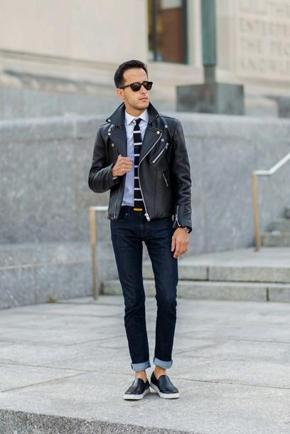 the metro man,blogger,jacket,jeans,jewels,menswear,leather jacket,perfecto,tie,stripes,vans,mens jacket,white shirt