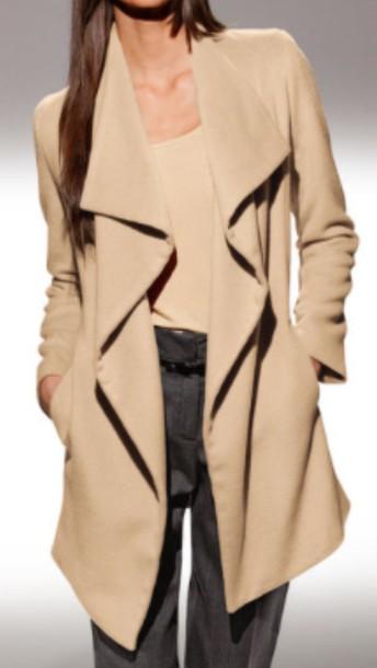 coat trench style coat nude coat waterfall coat