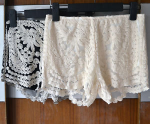 Womens Hot Knit Summer Embroidery Crochet Lace Shorts Hot Pants Black Beige 436 | eBay