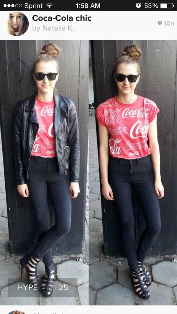 t-shirt white coca cola red red shirt shirt