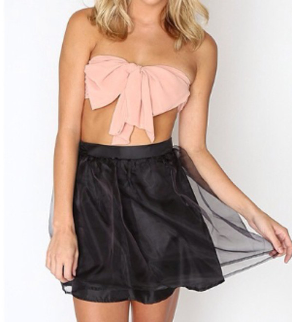 blouse bow bandeau bustier pink big bow
