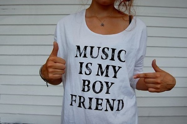 white t-shirt t-shirt white music boyfriend cute music is my boyfriend sweet cool swag lovely funny shirt quote on it grey t-shirt gray shirt black black and gray t-shirt t-shirt band graphic tee