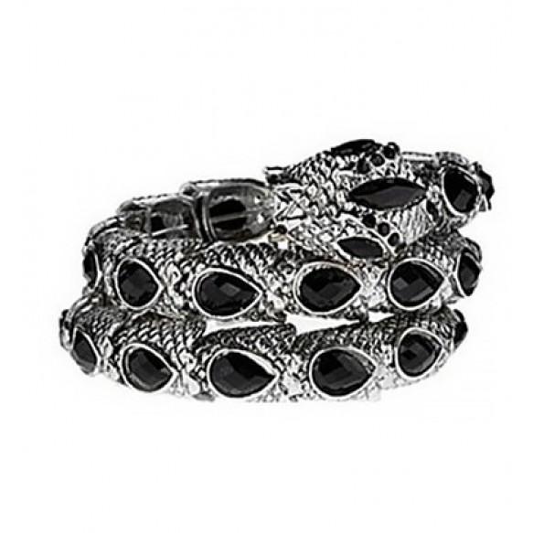 Jewel Embellished Snake Coil Bracelet at Style Moi