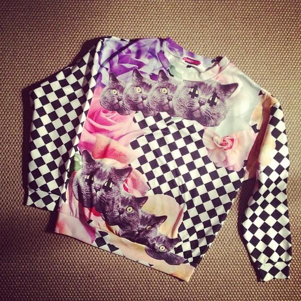 romwe cat print checks sweatshirt cats shirt