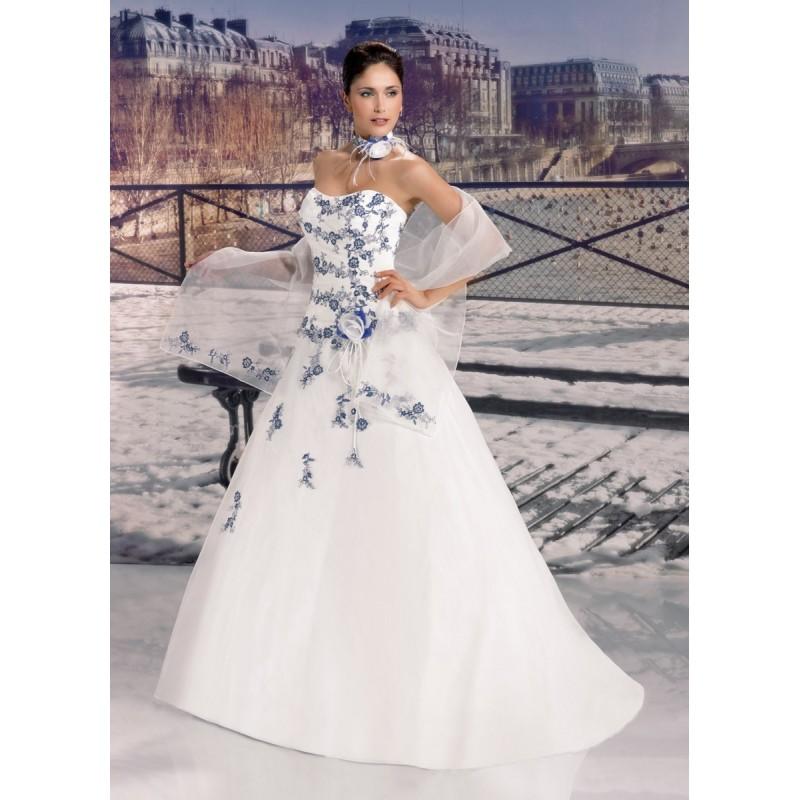 Robe de mariee blanche et bleu pas cher