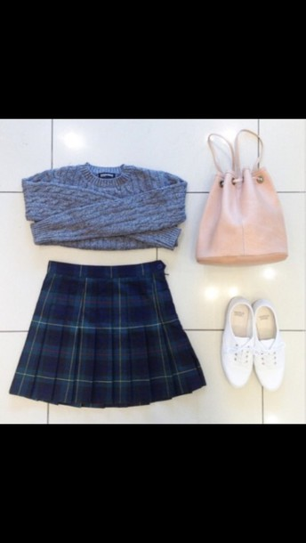 skirt plaid jumper crop cropped jumper bag shoes cool sweater