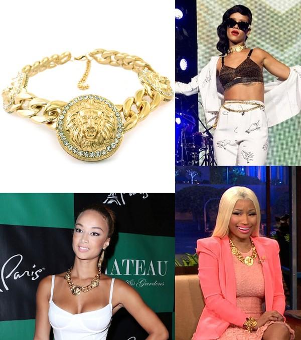 jewels necklace draya michele gold jewelry lion chain choker necklace celebrity style
