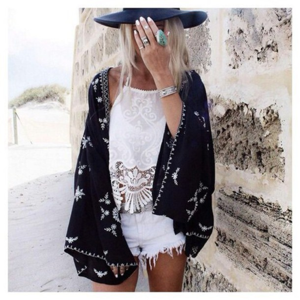 Cardigan Kimono Black Outfit Style Bohemian Tumblr Outfit Fashion Boho Boho Chic