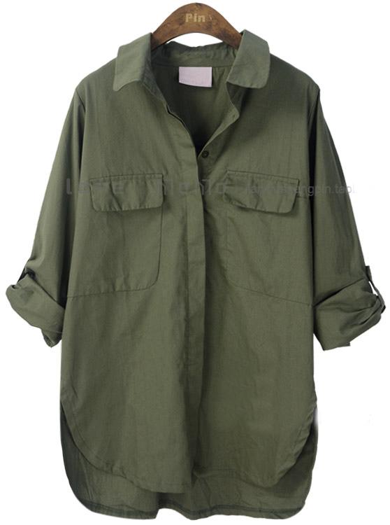 Army Green Lapel Batwing Long Sleeve Pocket Shirt - Sheinside.com
