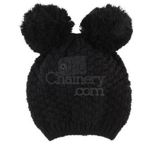 Beyonce Inspired Knit Pom Pom Hat Mimi Chunky Knit Wool Pom Pom Mouse Beanie - Hats