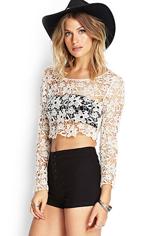 Floral Crochet Crop Top | FOREVER21 - 2000060529