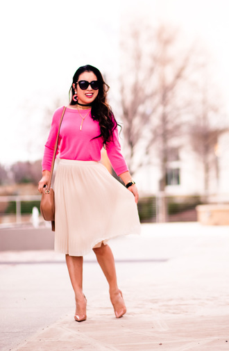 cute & little blogger top sweater skirt shoes jewels sunglasses bag pink sweater pink skirt shoulder bag nude heels high heel pumps