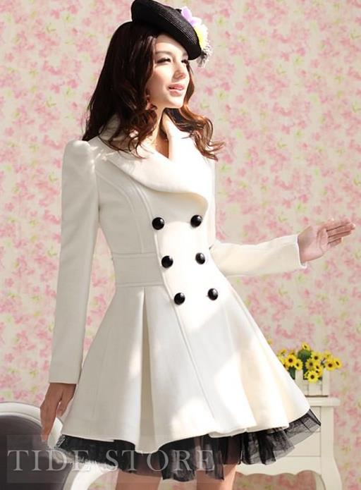 Elegant Candy Color Sweet Double Breasted Wool Overcoat : tidestore.com