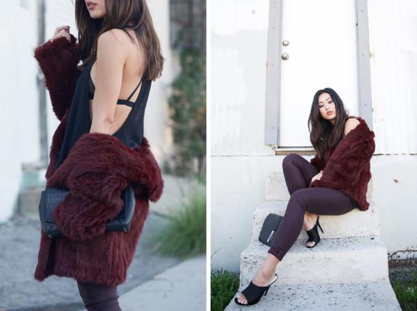 neon blush blogger plum burgundy fur coat tank top bra