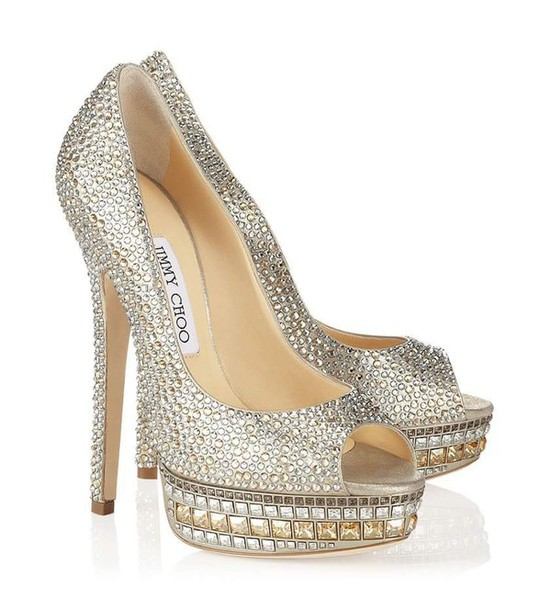 shoes siver shiny heels
