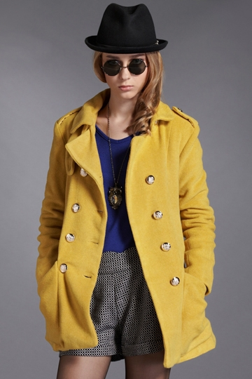 Handsome Double Breasted Coat in Yellow [FEBK0554]- US$ 44.99 - PersunMall.com