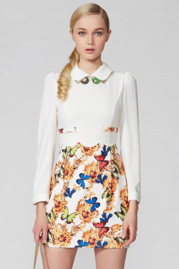 OSA High Waist Dress with Butterfly Print [FOSA0001] - PersunMall.com