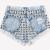 Wonderland Acid Frayed Studded Shorts | RUNWAYDREAMZ