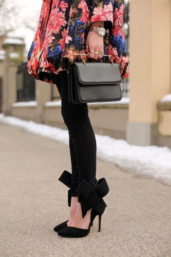 coat floral flowers shoes stilettos bows