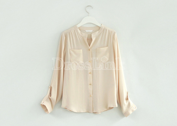 New Fashion Women's Top Sweet Blouse Long Sleeve Pocket Office Lady Shirt
