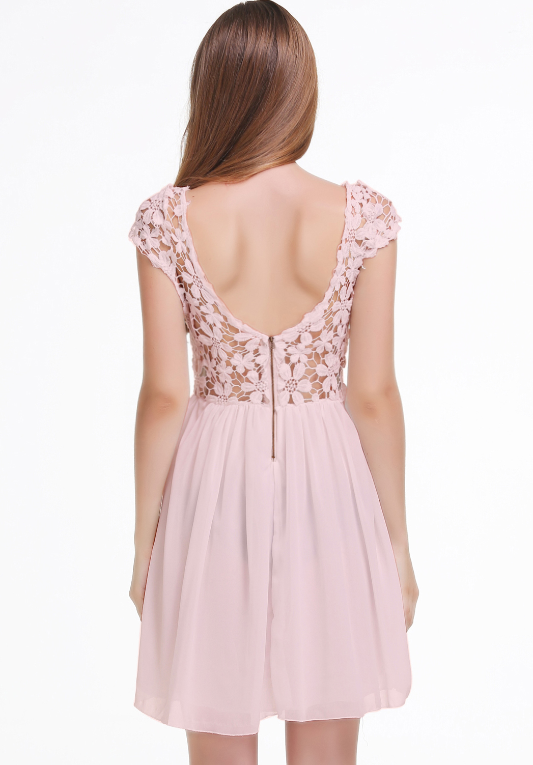 plissiertes Kleid mit all-over Häkelspitze, rosa-Sheinside