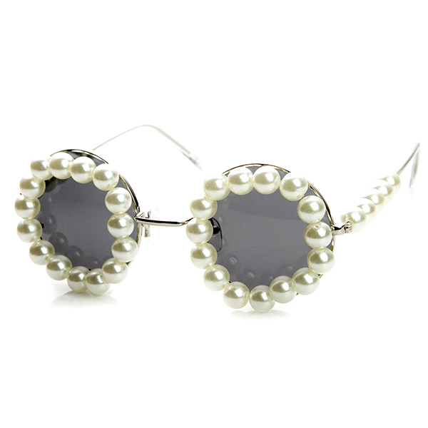 High Fashion Rihanna Pearl Decorated Round Sunglasses | eBay