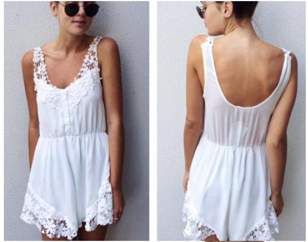 jumpsuit white jumpsuit white playsuit cute lace playsuit lace jumpsuit ebonylace.storenvy ebonylace.storenvy ebonylace-streetfashion