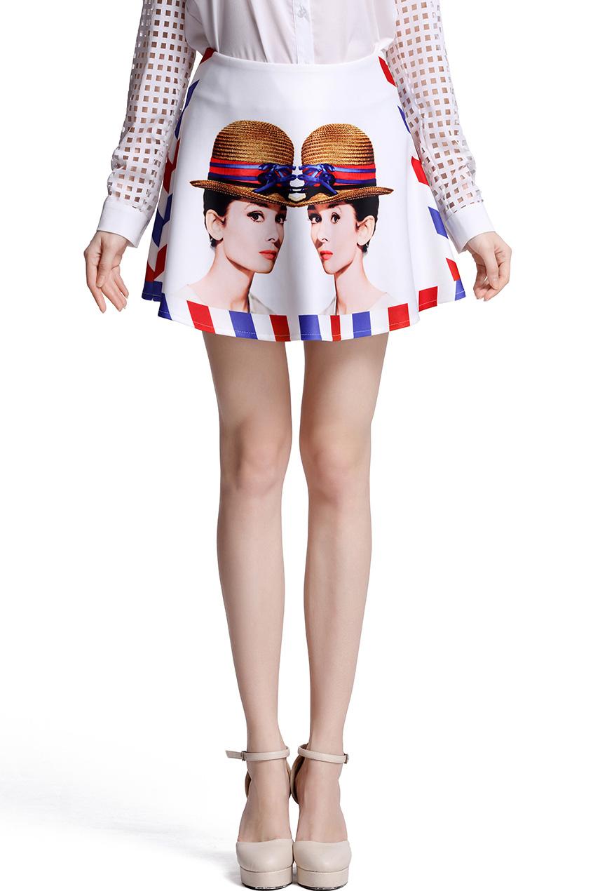 ROMWE | Hepburn Envelope Edge Print Skirt, The Latest Street Fashion