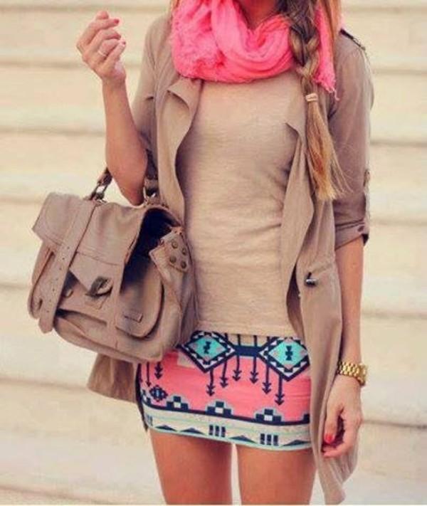 skirt pink skirt summer mini skirt clothes blouse jacket jewels bag top pink scarf shirt aztec skirt sweater multicolor blue brown